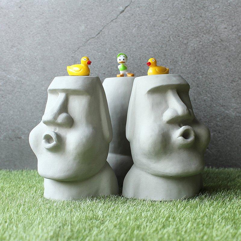 水泥摩艾 Moai-吹氣摩艾 Q萌摩艾 擺飾 辦公小物