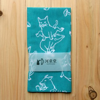 Tenugui with cat and frog towel