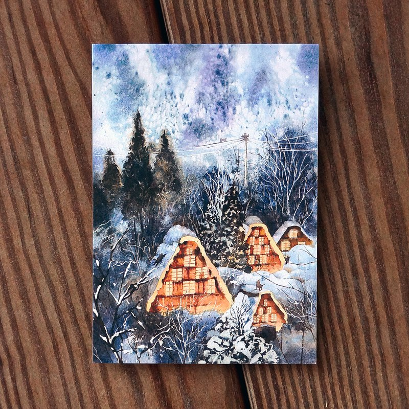 Painting crazy series postcard - Snow Village Tibetan Cat