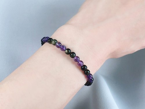 (Ofelia.) Natural Stone Series. Natural Sands Obsidian x Amethyst Bracelet (J117.Clemmie)