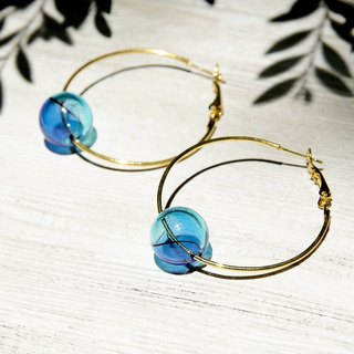 / Simple sense / retro golden hue round brass earrings ear acupuncture ear hook ear hook - ocean gradient drops