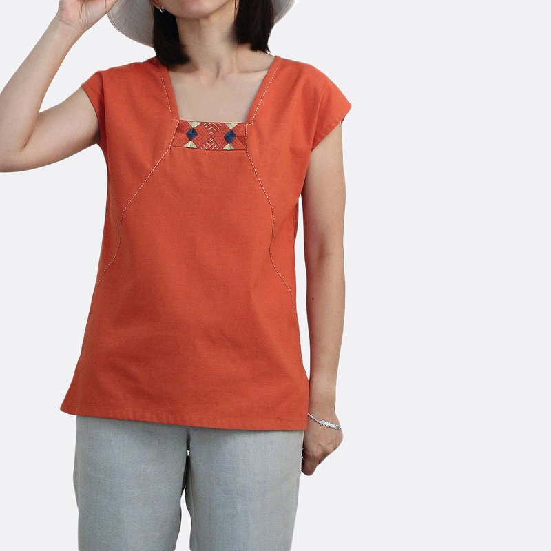 Cotton linen Top, Tribal style hand embroidery/ Orange
