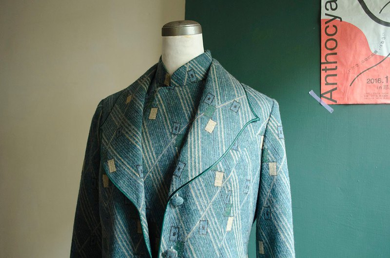 Custom-made green lime yellow wool slash square Shanghai antique suit jacket | vintage Wan Hao vintage