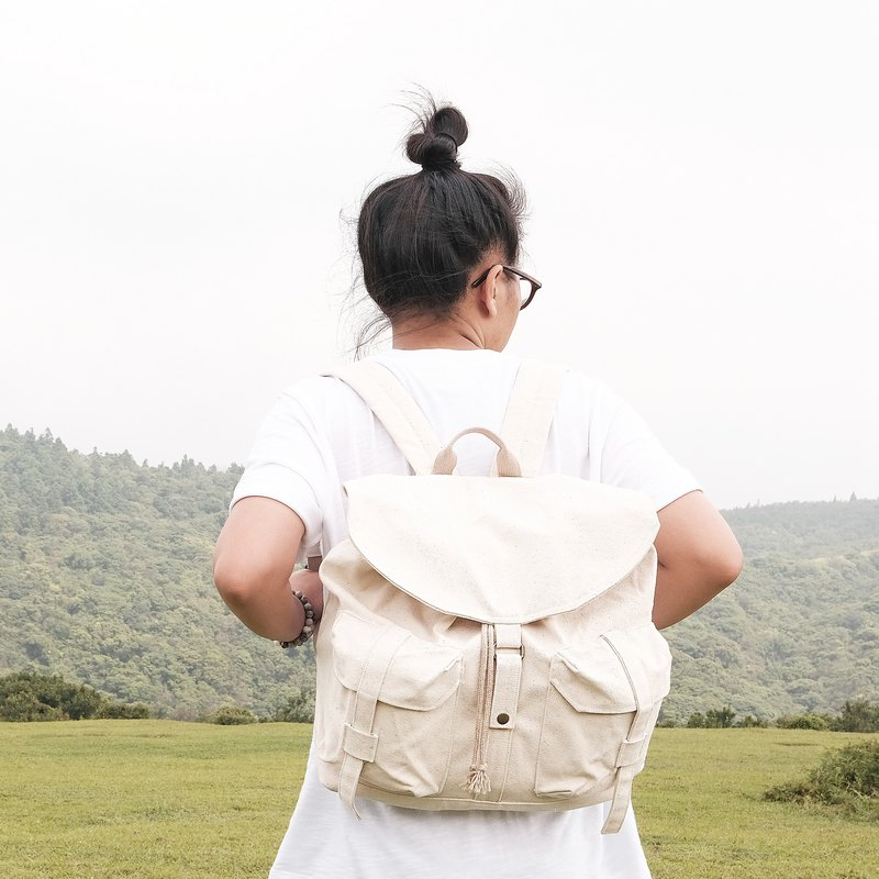 Journey canvas backpack / mist white
