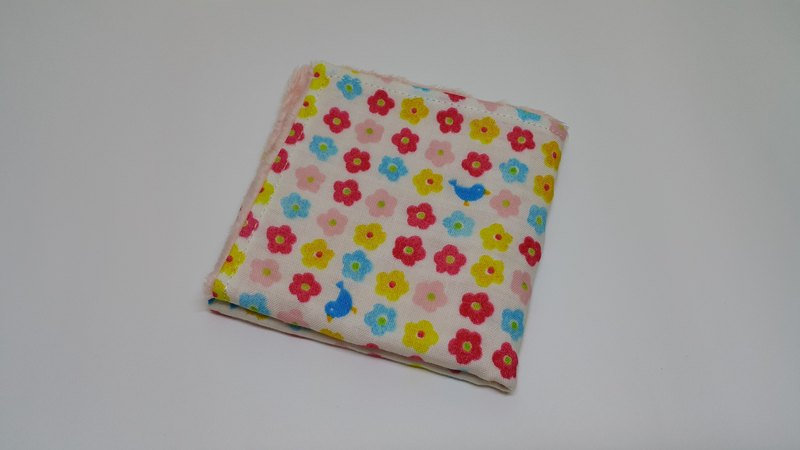 Bird and flower handkerchief towel / bibs / bath towel