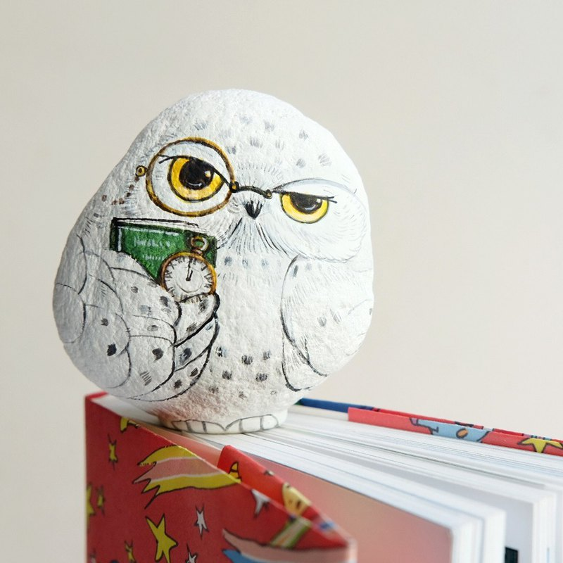 Snow Owls doll stone painting,unique gift handmade,original work.