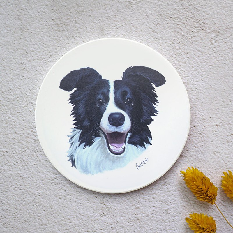 Watercolor style pet portrait coaster (frontier collie)
