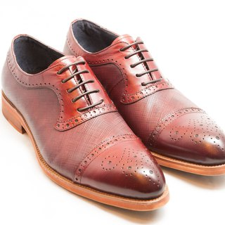 [LMdH] E1A25-79 hand-colored calfskin leather with carved stitching Oxford shoes leather shoes men's shoes - burgundy - free shipping