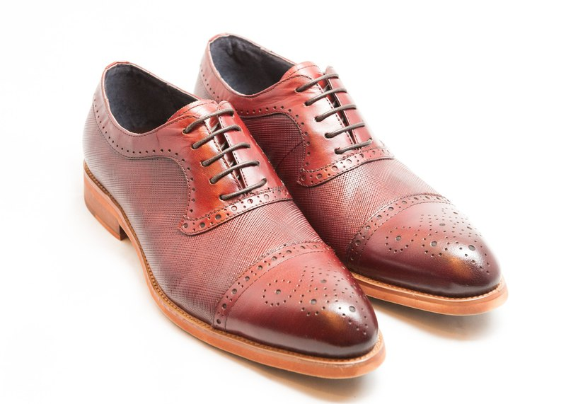 E1A25-79 hand-colored calfskin leather wood with carved mosaic sneakers shoes men's shoes - wine red