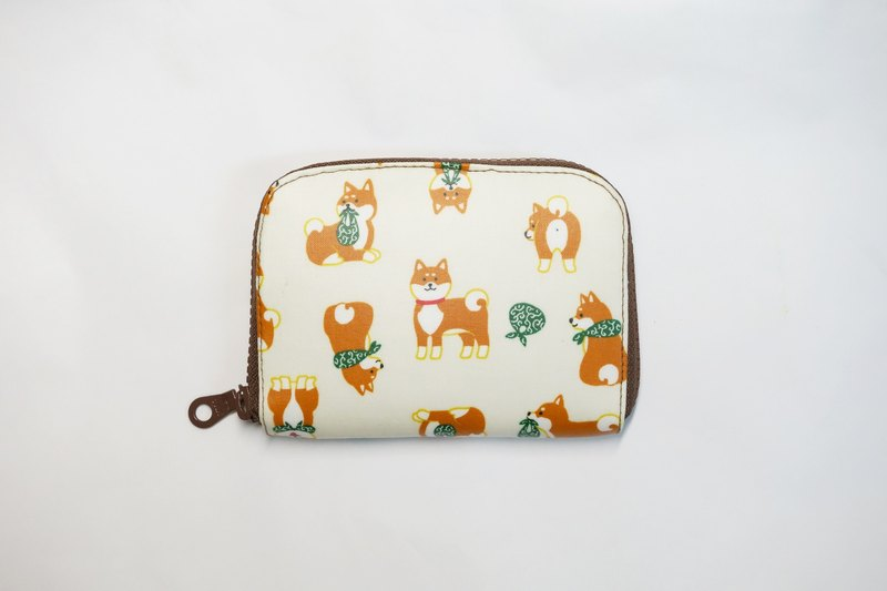 Play cloth hand made. Japanese Shiba Inu (beige) tarpaulin short wallet wallet purse