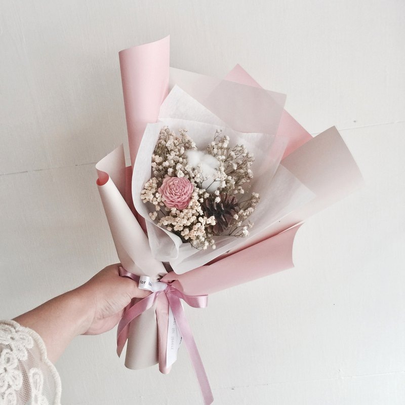 Cotton + pinecone two-color dry bouquet