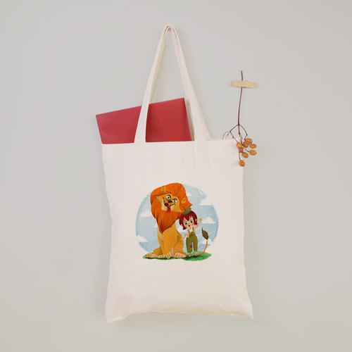 [Paula] happy lion canvas bag