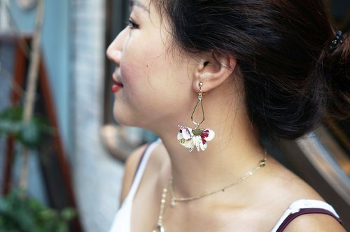 Cloth tassel series - small floral tassel earrings / ear clip