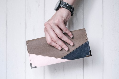 [Possible Paper] Color Patchwork Series Long Purse - Washed Kraft Paper Leather Products