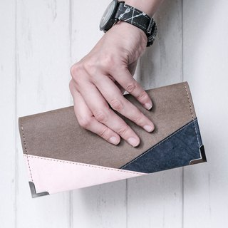 [Paper made possible] Color collection patchwork long wallet - washed kraft paper