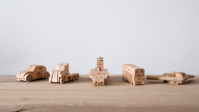 Bamloff WooBots -Transformable Wooden Robot- 5 pack
