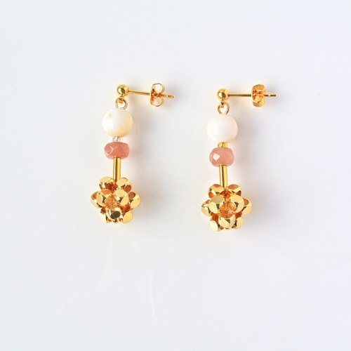 Simple system. Sun stone geometric three-dimensional earrings
