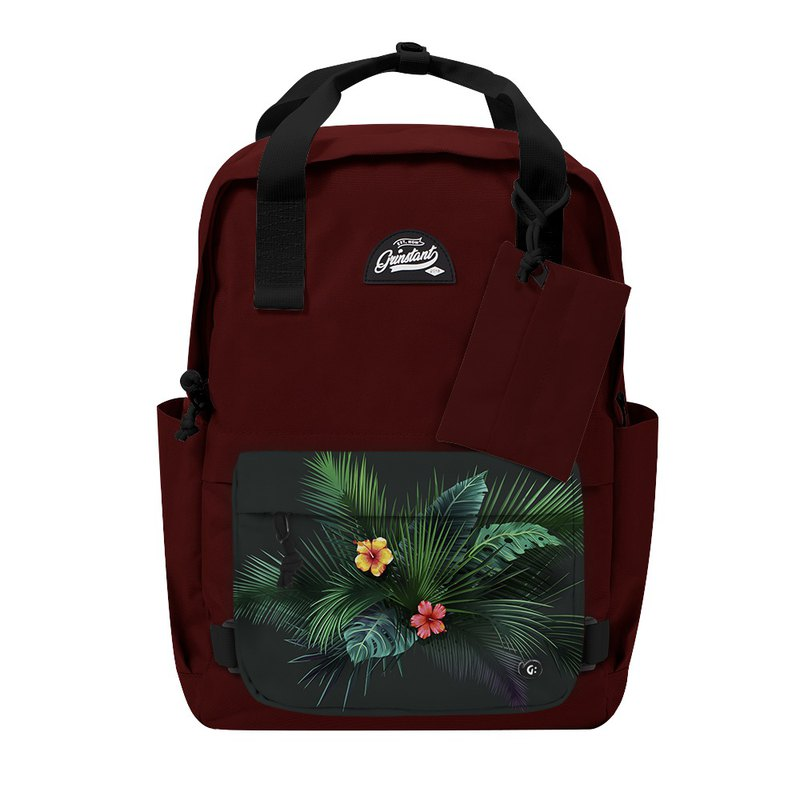 Grinstant mix and match detachable group 15.6 吋 backpack - Adventure series (dark red with leaves)