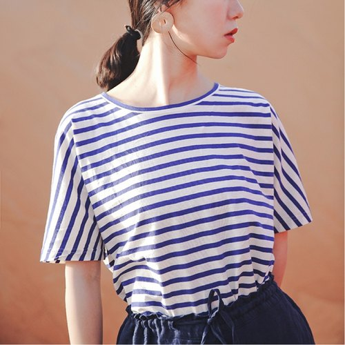 Ultra thin blue and white striped raglan Tee-shirt loose, casual cotton T-shirt made of comfortable wild long-awaited finally came | vitatha Fan Tata original design women's brands Independent