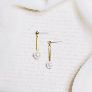 String series brass shell pearl pendant earrings ear clip ear clip without pierced ears