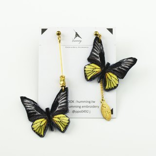 humming-Embroidery earrings   Troides magellanus |Magellan Birdwing