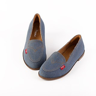[Zero code clear] Before the bottom, clear the leather inside, casual loafers, denim, limited edition, blue