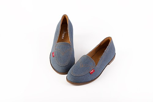 [Fu Lu Denning] handmade shoes leather shoes in the field of loafers / Taiwan denim / leather inside / original limited edition / Peas shoes sole B91901 in blue