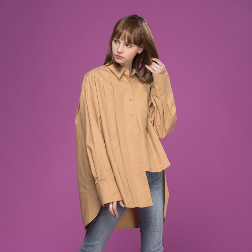 Unbalanced Pintuck Shirt (Dark Beige)