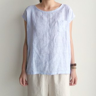 Marine small pocket shirt linen blue and white mixed color