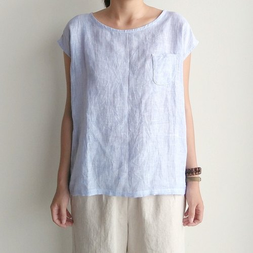 Marine pocket shirt linen blue and white color mixing