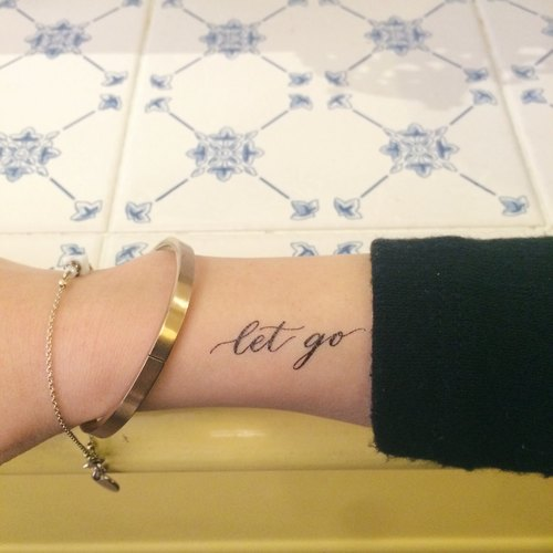 "cottontatt ""let go"" calligraphy temporary tattoo sticker"