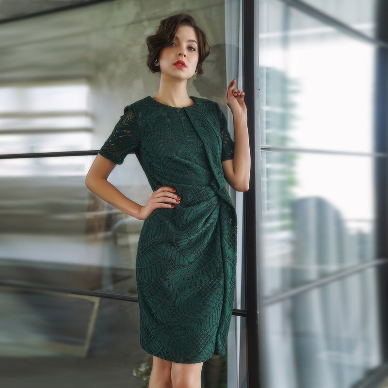 Leaf pattern embroidery folding dress