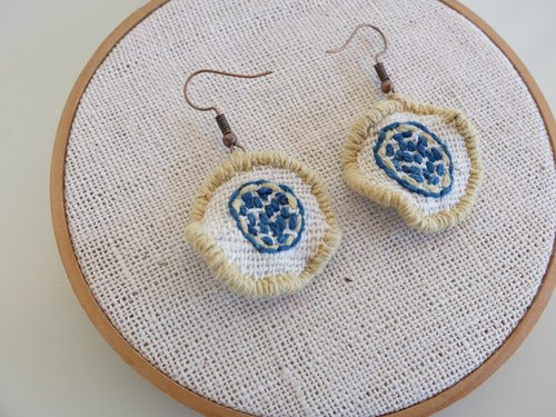 Handmade earrings-embroidered with natural dyes thread on handwoven cotton fabric.