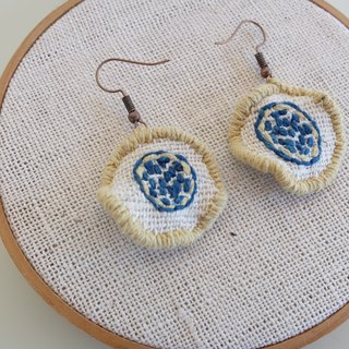 Handmade earrings-embroidered with natural dyes thread on handwoven cotton fabric