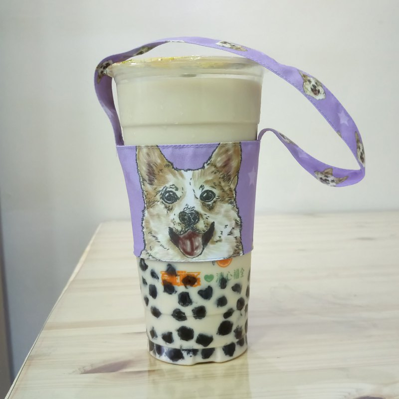 Keji - double-sided beverage cup set - dog sketch series ~ double-sided beverage bag
