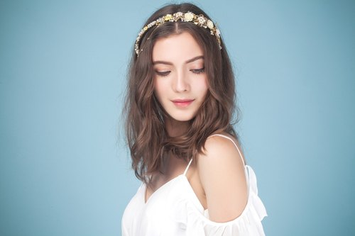 Serena ◆ ◆ Crown gorgeous gold lace bridal hair flower ornaments handmade headdress married hairdresser bride wedding jewelry bridal headdress Jane freshwater outdoor photo bridal hair accessories