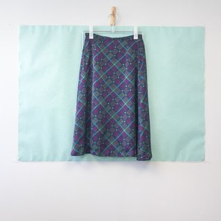 ... {Acorn girls :: vintage skirt} purple blue oblique plaid long skirt