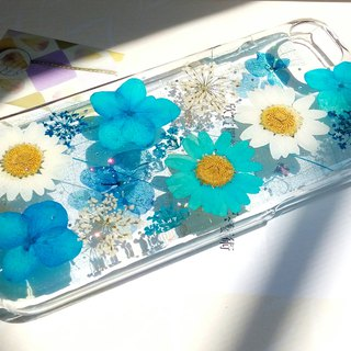 Pressed flowers phone case, iPhone 7 , iPhone 8 , Love blue