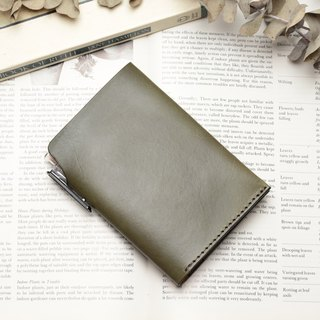 Retro morning tree green hand dyed yak leather handmade passport holder