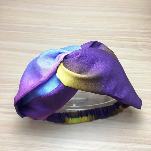 Colorful purple handmade cross hair band elastic hair band