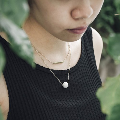 Marble Concrete Brass Double Necklaces
