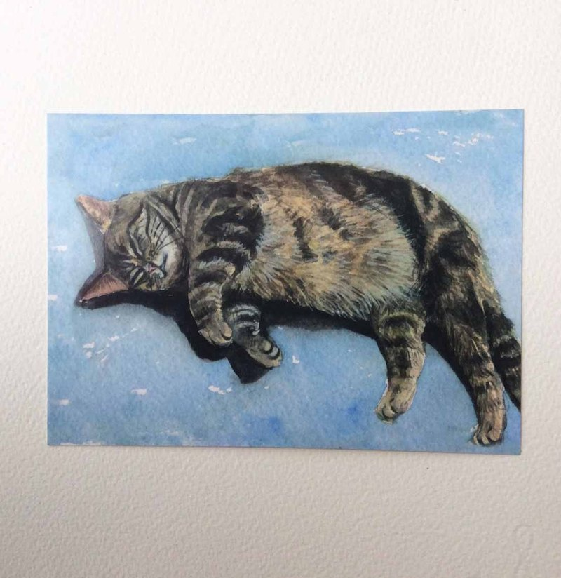 """Mummy Sleeping Series"" hand-painted postcard tiger cat"