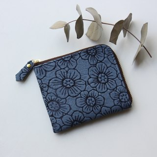 Pigskin's slim mini wallet Flower Blue