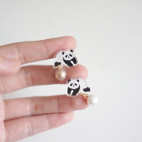 [Horned forest] panda and his pearl a pair of earrings / ear clip