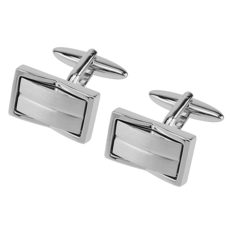 Brush Silver Inlaid Metal Cufflinks