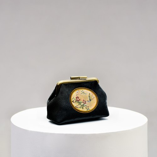 CoinQian black retro flower mouth gold purse