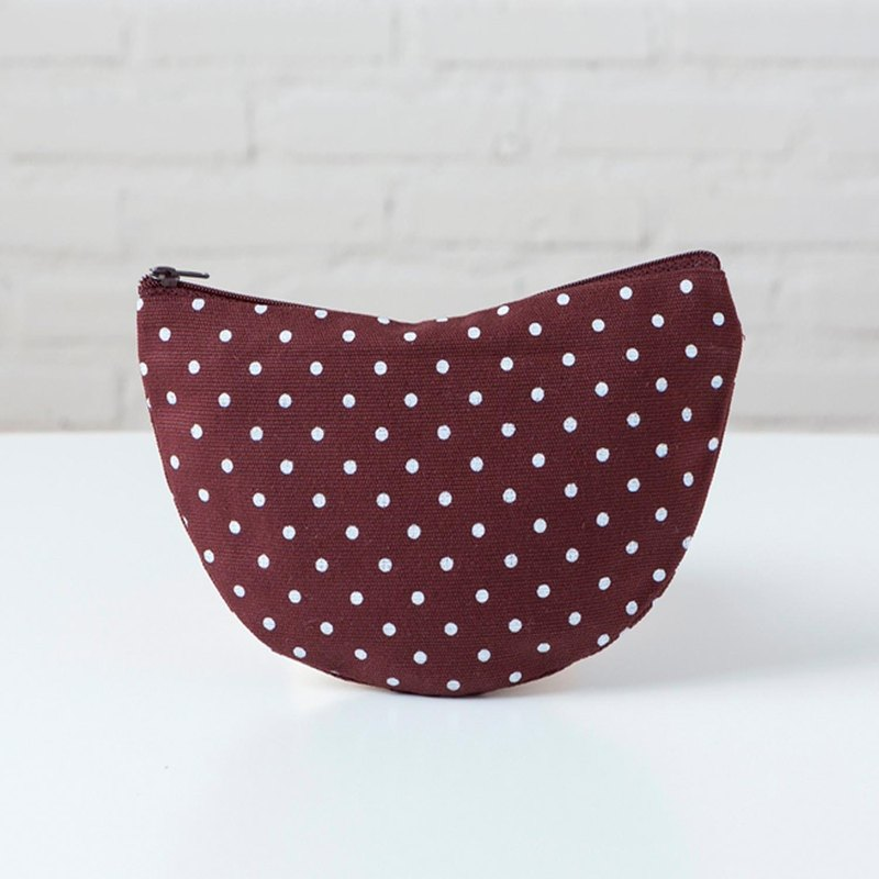 Curvy Pouch L - Dot Brown
