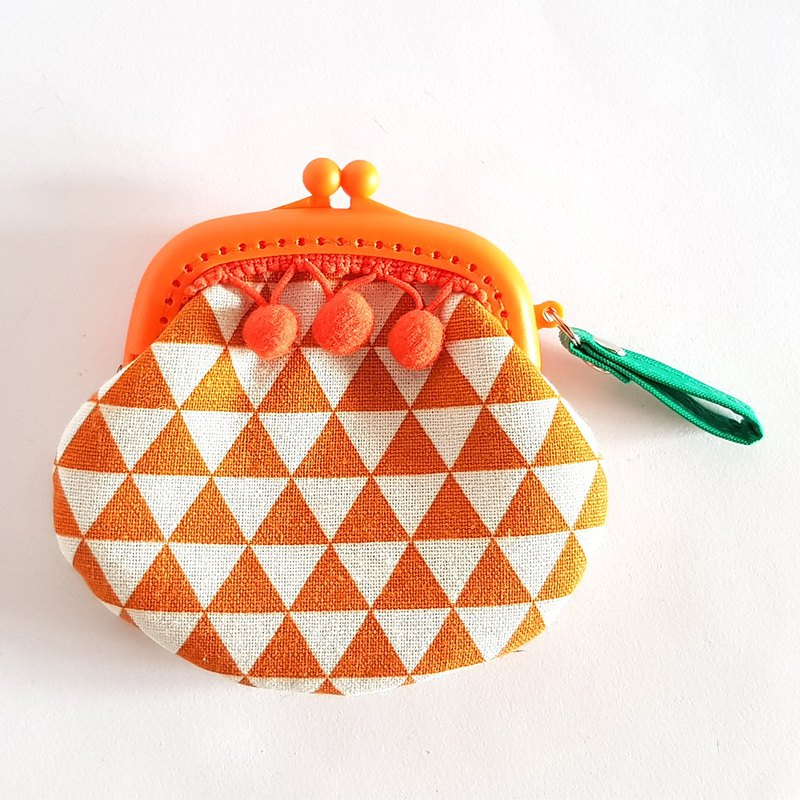 Orange/Triangular Geometric Ethnic Mink Ball Tassel Gold Purse/Orange Ball
