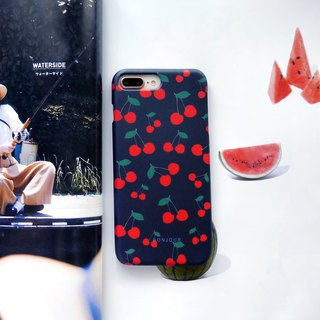 Summer dark blue cherry phone case