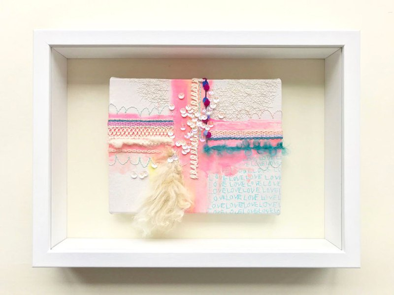 Hand-embroidered painting [one of the gifts to protect you. Love and rainbow] framed